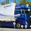 Volvo's active safety system for trucks helps safeguard cyclists and pedestrians in an urban environment.