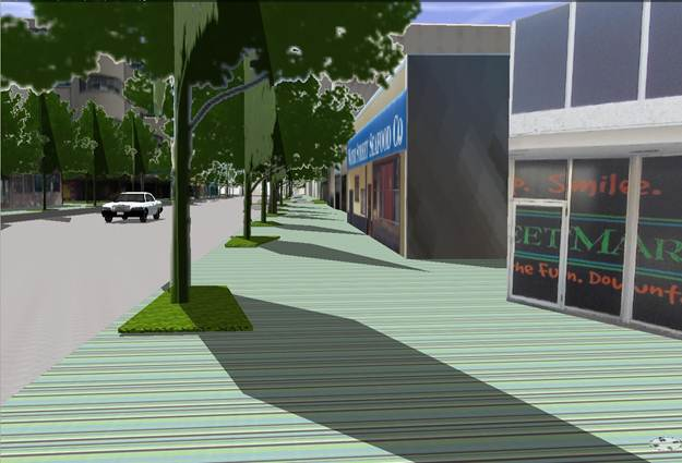 Downtown Chapparal Street with improvements in Esri CityEngine
