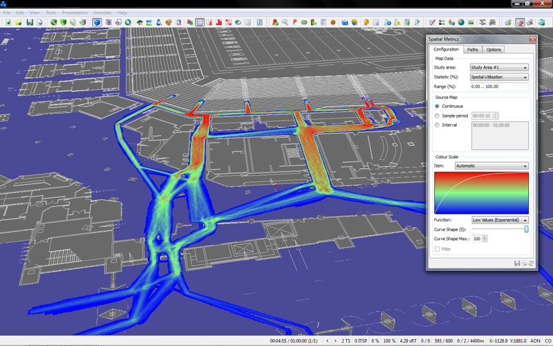 Visualization, with color scales for traffic intensity, give planners and the public more detailed insight into interactions. Image courtesy of Quadstone Paramics, a Pitney Bowes company.