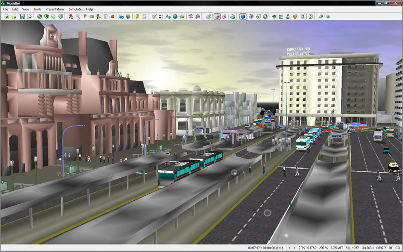 Realistic 3D street scenes allow planners to convey transportation plans, and with integrated simulation they can also convey the performance of those plans.  Image courtesy of Quadstone Paramics, a Pitney Bowes company.