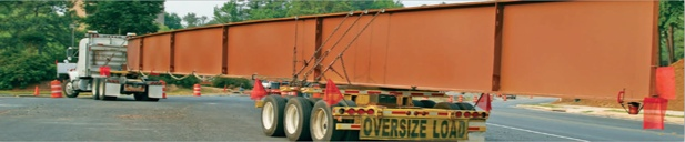 This long girder poses route challenges, particularly for turning. Courtesy Oklahoma DOT