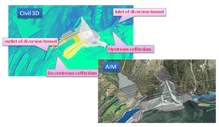 In these two images you can see the integration of design models in Autodesk AutoCAD Civil 3D with the overall project context in Autodesk InfraWorks for the design and demonstration of the diversion scheme.