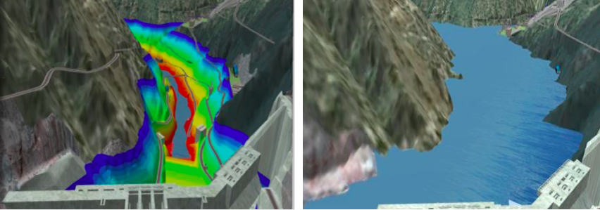 The integration of models within Autodesk InfraWorks provides the means to visualize such outcomes as inundation levels at different stages of the project.