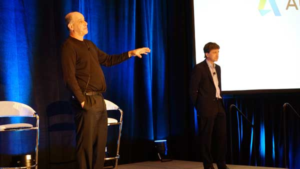 Autodesk CEO Carl Bass, left, and Chief Technology Officer Jeff Kowalski visited the Media Day gathering to answer questions.