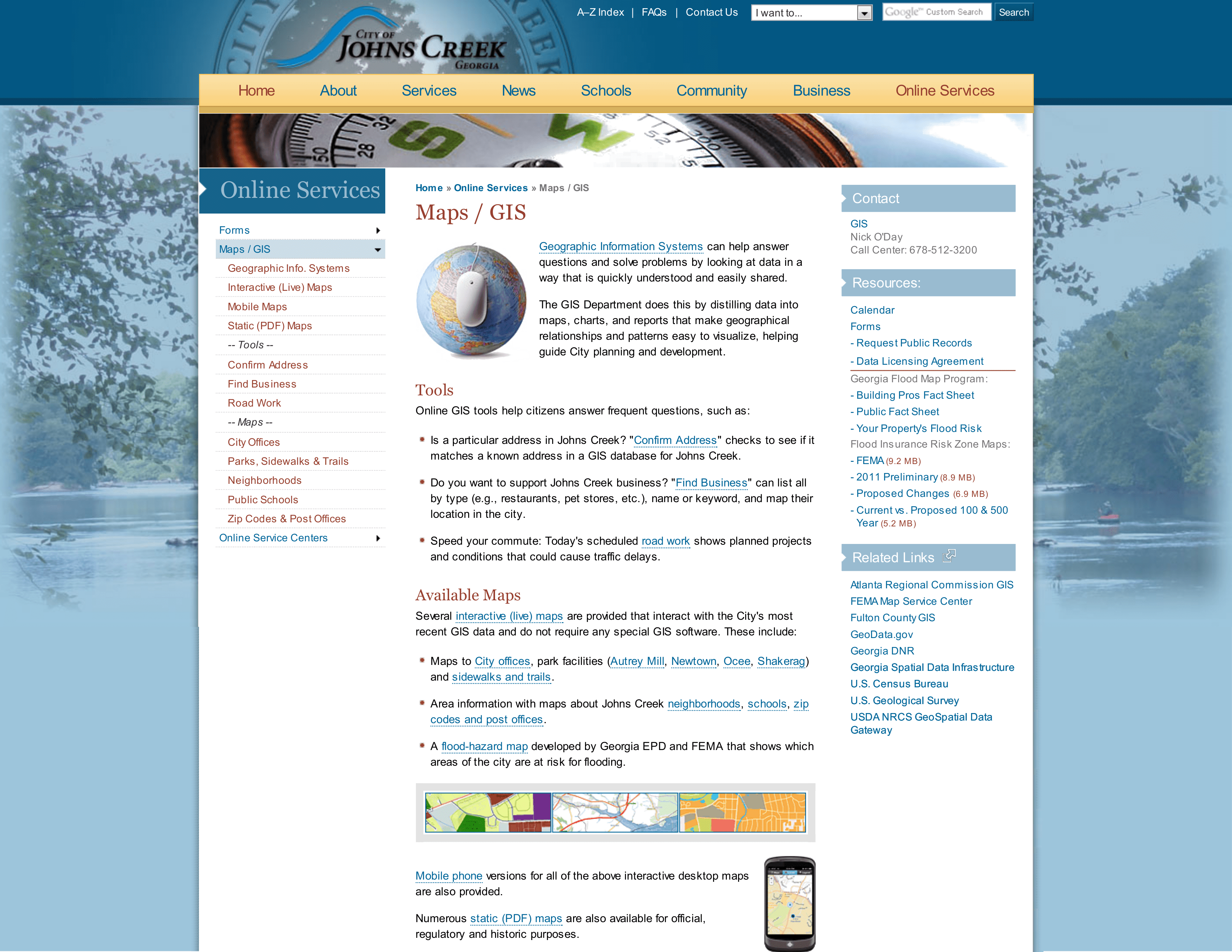 This is the GIS homepage in the City of Johns Creek, GA's website describing to visitors what GIS is and the web tools available to users.