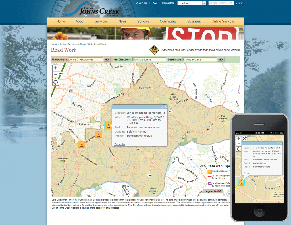"This is the City of Johns Creek, GA's award-winning ""Road Work"" map (shown on a desktop and smartphone). The app displays the locations of planned road work projects, road closures and other issues along with start and end times and anticipated impacts on traffic."