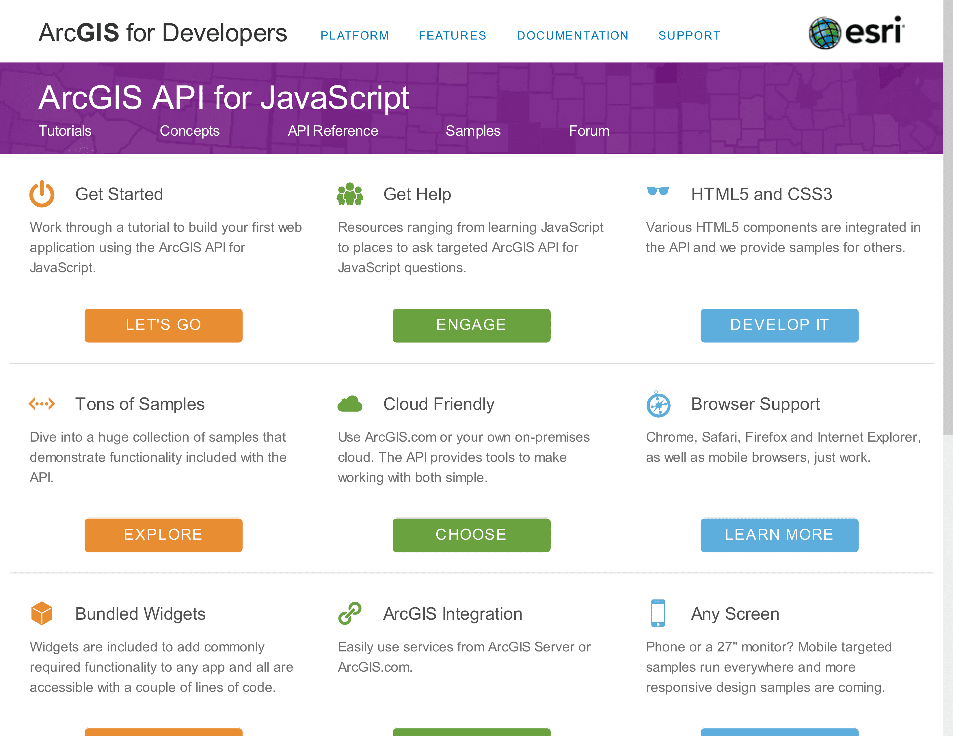 The ArcGIS API for JavaScript homepage offers a wealth of API documentation, samples, and framework links for the JavaScript developer.