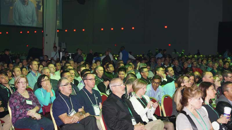 Thousands turned out for the opening keynote address at Autodesk University.