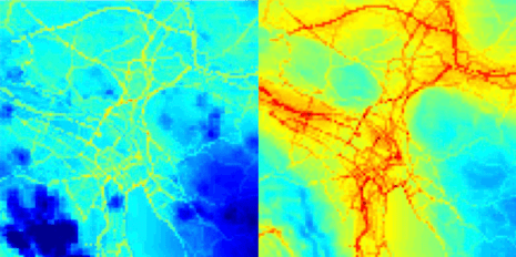 The detailed maps show clear differences in ultrafine particle pollution in spring (left) and winter (right). Photo: ETH Zurich