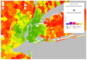 A CoolClimate Map of New York City's carbon footprint by zipcode tabulation area shows a pattern typical of large metropolitan areas: a small footprint (green) in the urban core but a large footprint (orange and red) in surrounding suburbs.