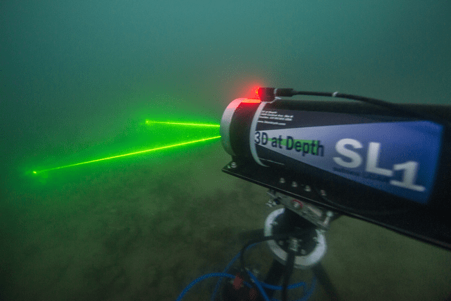 A subsea laser scanner from 3D at Depth enables the team to capture details and texture of the USS Arizona.