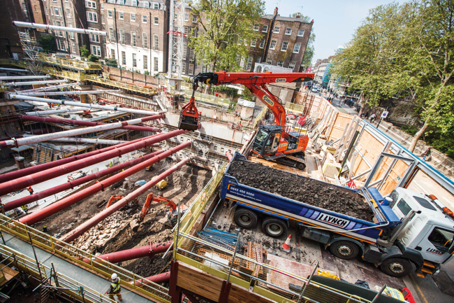 This underground complexity is typical of old urban cores, such as this image of an excavation project in central London. Image courtesy of Hitachi.