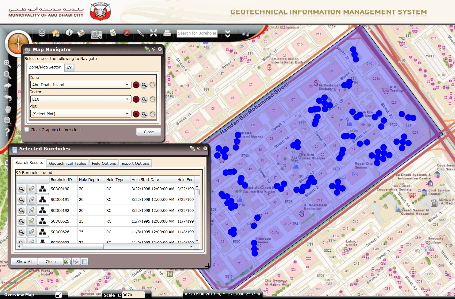 Users can query boreholes based on zones and spatial locations.