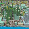 3D Cities sample: 3D buildings models classified by occupancy attributes draped over ortho imagery.