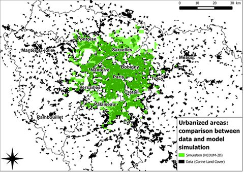 Figure 1: The simulated and real urban area of Paris in 2006. The green shade corresponds to the simulation and the black is geographic data (Source: Corine Land Cover (European Union and SOes, 2006)).
