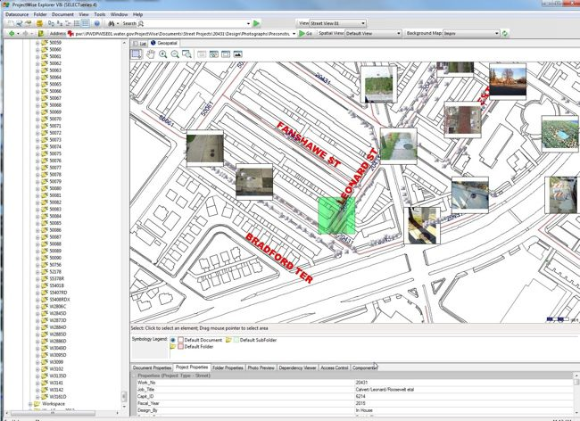 ProjectWise Geospatial Management allows the searchable metadata from geocoded photos to be captured by ProjectWise and displayed on a basemap.