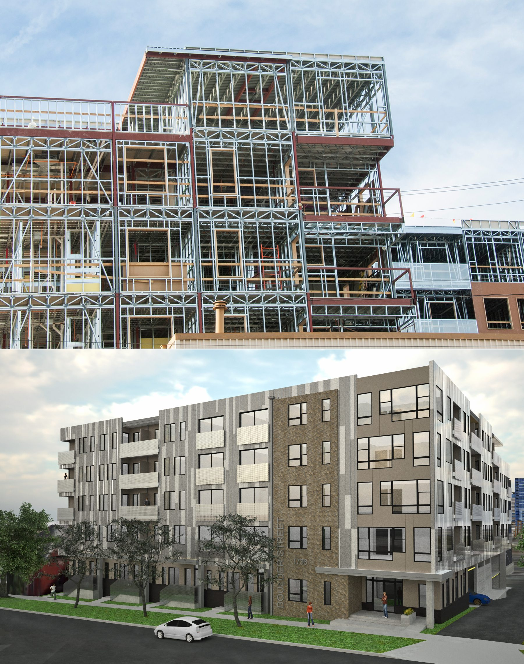 Components of the structural system can be seen in these photos of the B Street LoHi building.