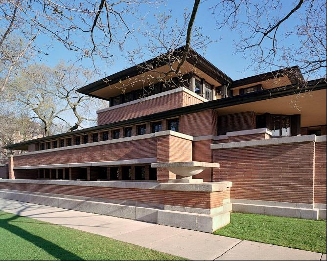 Frederick C. Robie house, south elevation. Photo: Tim Long, courtesy of the Frank Lloyd Wright Trust