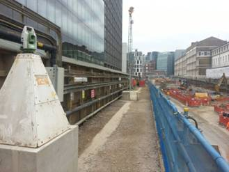 One of many Leica TM30 robotic total stations that measures changes in ground movement caused by deep excavation works alongside an historic London site.