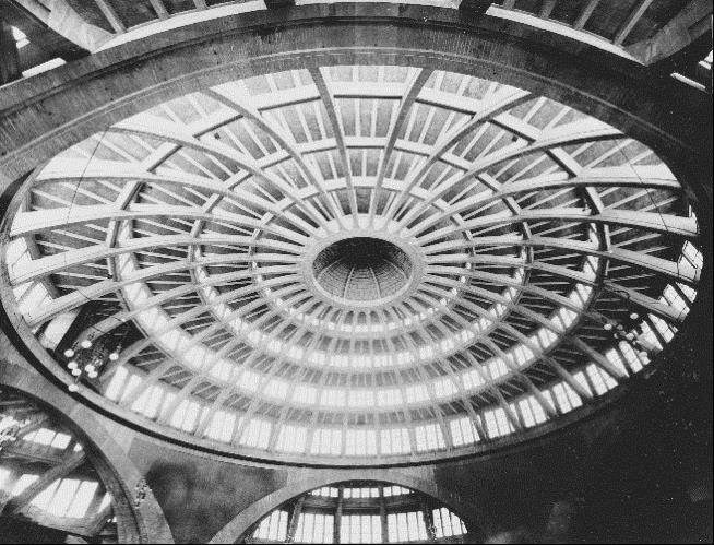 Centennial Hall, interior, ribs of the dome and lantern, photograph ca. 1920.