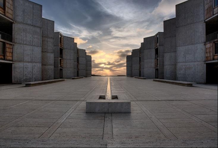 Salk Institute, courtyard. Photo: Joe Belcovson for Salk Institute of Biological Studies