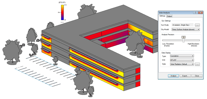 Peak solar radiation on glazed surfaces during overheated periods of the year as shown directly on the Revit model. - See more at: http://inthefold.autodesk.com/in_the_fold/2014/10/autodesk-expands-software-portfolio-for-designing-high-performance-buildings-and-infrastructure.html#sthash.jfnXqwJY.dpuf
