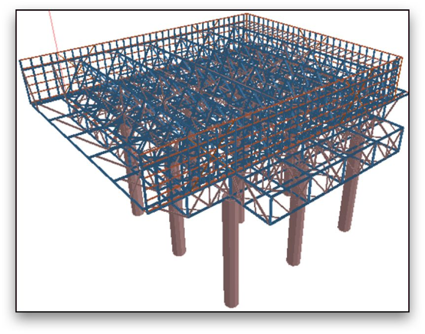 The 3D structural model in STAAD.Pro enabled structural engineers to perform load calculations and structural analysis within a unified model.