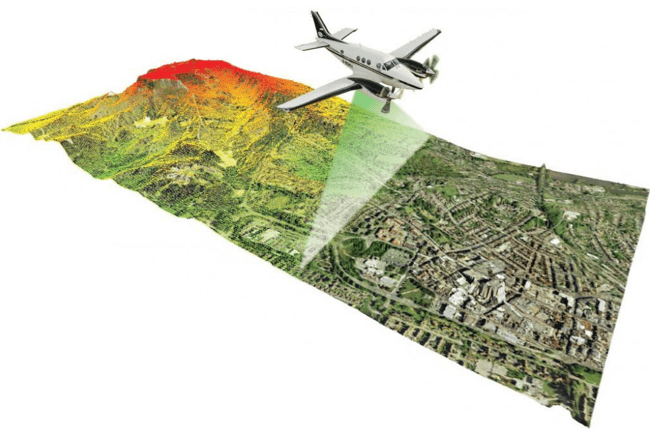 Figure 2. 3D laser scanning is quickly becoming an infrastructure industry standard for collecting data. Airborne laser scanning is used to capture 3D data for large areas, such as urban areas, industrial plants, or large transportation or land development projects.