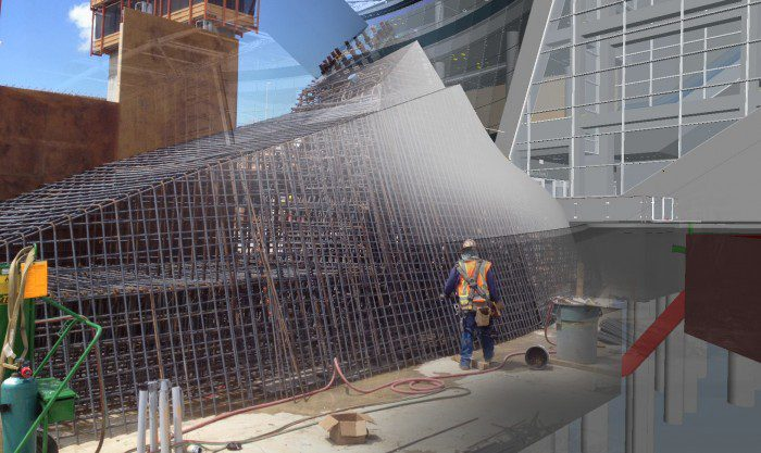 The scale of the base of the light-rail station canopy can be seen in this model/photo composite. The complexity of the rebar enforcement is something that craft workers can view on their iPads, with models speeding the work. Courtesy HNTB.