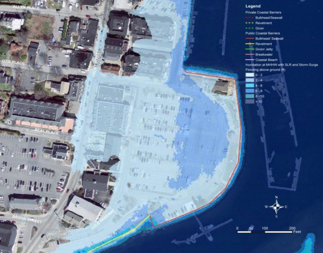 Here the same inner harbor of Scituate, Mass., is shown with resulting flooding from a Category 1 Hurricane. Detailed models of climate-change effects help local planners make better decisions.