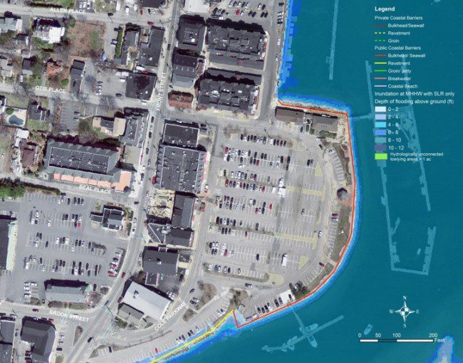 The inner harbor of Scituate, Mass., is shown under normal conditions.