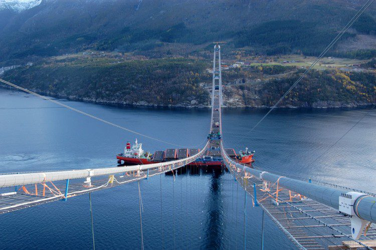 The distance between the two main cables is only 14.5 meters, which means that the Hardanger Bridge is one of the most slender bridges in the world.