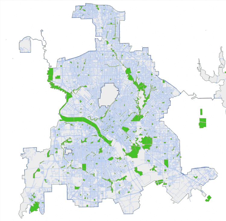 Figure 1. The Dallas park system consists of 381 individual parks.