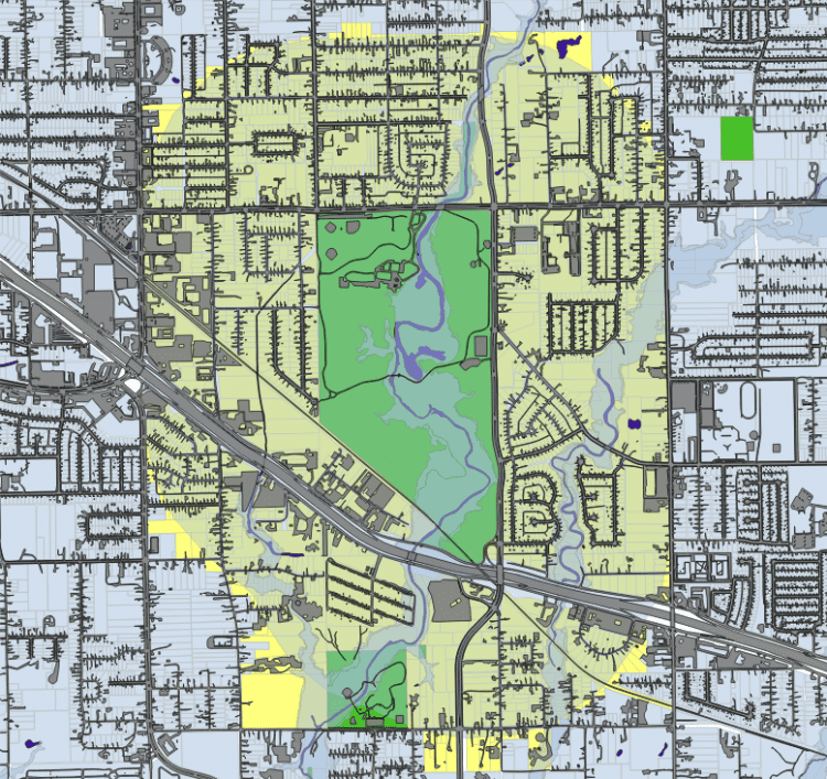 Figure 2. To evaluate baseline stormwater management functions and property-value influence, the project team examined Crawford Park, Prairie Creek floodplain and its surrounding parcels.