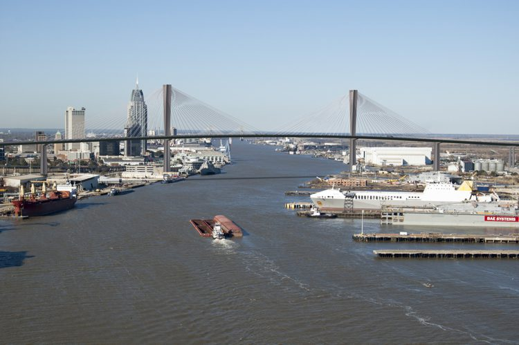 The bridge will have 215 feet of air-draft clearance to accommodate container ships that use this deepwater port, the fourth largest by tonnage in the nation. The port has direct access to 1,500 miles of inland and intracoastal waterways.