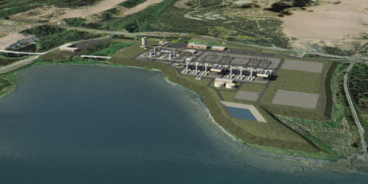 A model rendering shows the South Dunes Power Plant that will be built next to the liquefaction facility.