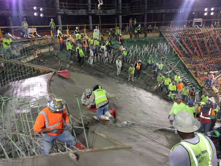 The concrete for the tank was laid in a continuous 30-hour pour. CREDIT: Baker Construction