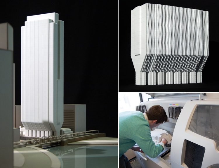 A ZPrinter 650 (bottom right) was used to create physical models of 150 N. Riverside. A tower base model (upper right) was one of dozens of 3D models printed for the project. A physical printed model of the full tower (left) is shown in context of the surrounding areas.