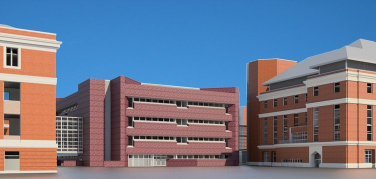 The exterior of buildings are modeled with textures and a high level of detail.