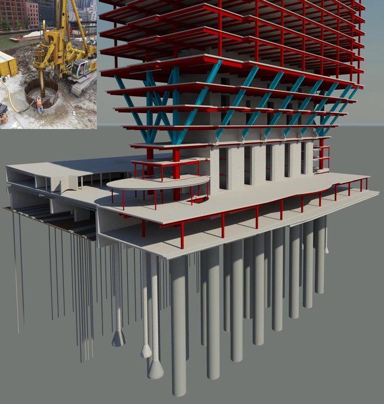 This Autodesk Revit Structure model details the 16 10-foot-diameter caissons (inset) that extend 100-feet deep and are socketed five feet into the bedrock below.
