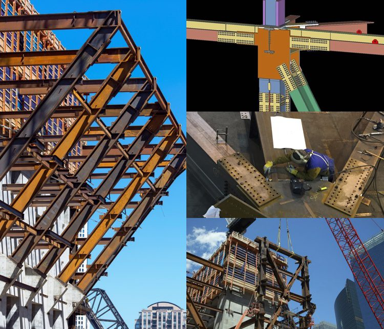 "Each connection was modeled and detailed carefully in SDS/2 (upper right). Prior to shipping to the site, every piece of steel was pre-assembled in the fabrication shop to ensure proper fit (middle right). One of two 250,000-pound ""M"" trusses is lifted into position (bottom right)."