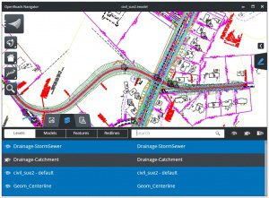 OpenRoads Navigator makes it easy to work with 2D or 3D designs in the field allowing users to access all project information associated with a project.