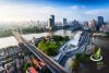 panoramic high angle view of cityscape at riverbank