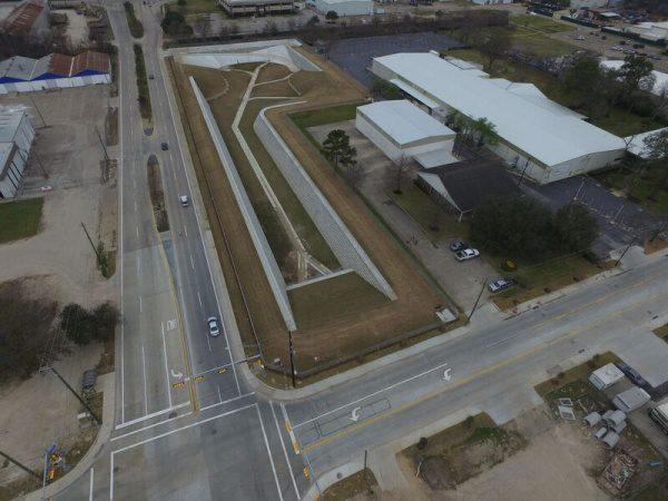 Concrete blocks detention basin informed infrastructure for Design of stormwater detention ponds