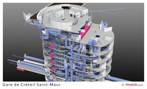 A 3D rendering of the design for the Gare de Créteil Saint-Maur, a new station that is part of the Grand Paris Express.