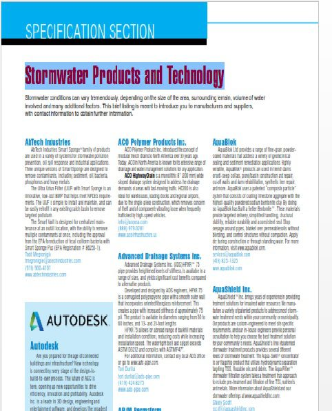 Specification Section Stormwater Products And Technology 2017