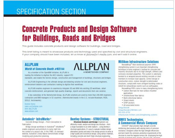 Specification Section 2018 Concrete Products And Design Software For Buildings Roads And Bridges Informed Infrastructure