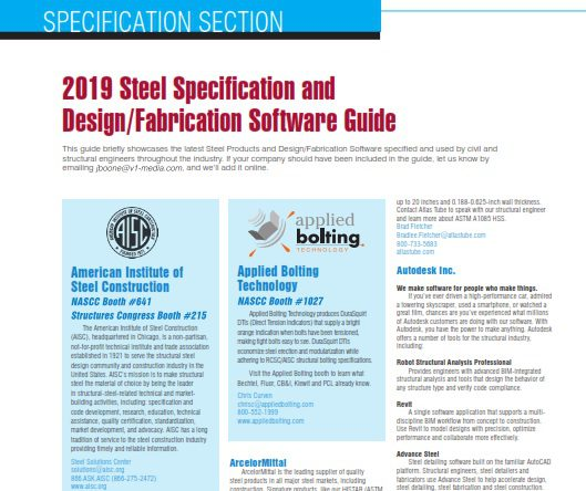 2019 Steel Specification and Design/Fabrication Software Guide