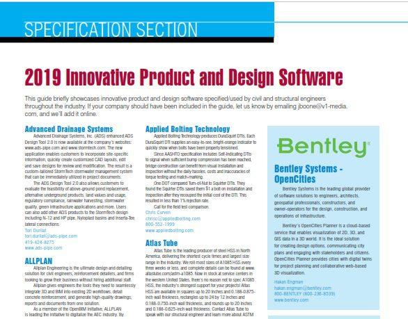 Specification Section 2019 Innovative Product And Design Software Informed Infrastructure
