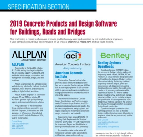 Specification Section 2019 Concrete Products And Design Software For Buildings Roads And Bridges Informed Infrastructure